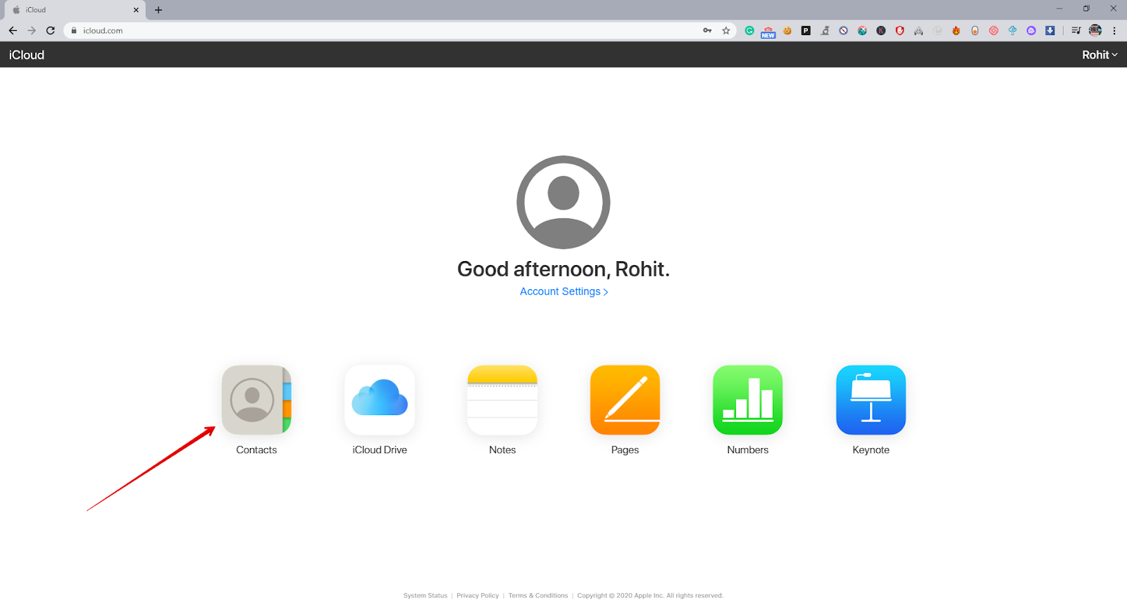 Contacts on iCloud