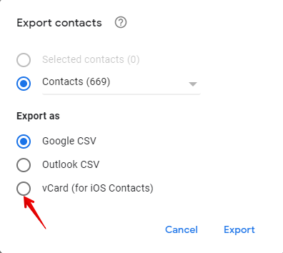 vCard (for iOS Contacts)
