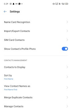 Contacts on Android