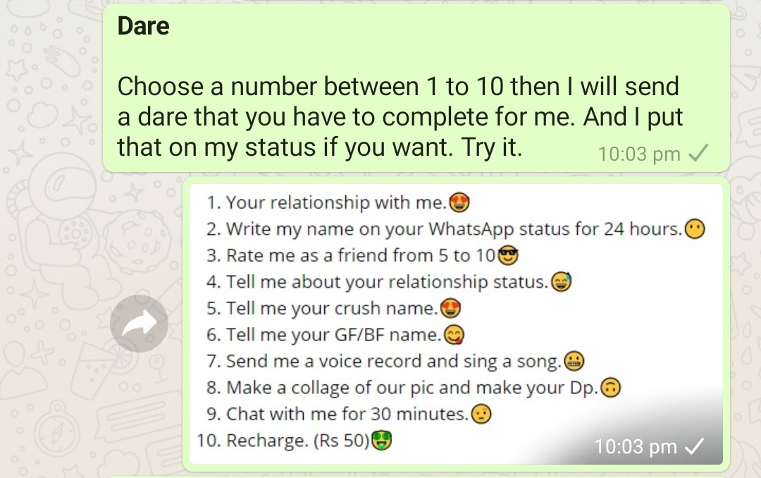 Choose a number dare